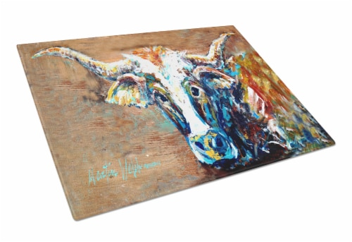 On the Loose Brown Cow Glass Cutting Board Large Size Perspective: front