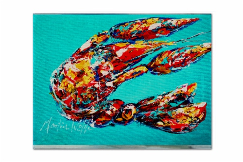 Carolines Treasures  MW1161PLMT Lucy the Crawfish in blue Fabric Placemat Perspective: front