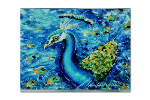 Carolines Treasures  MW1166PLMT Peacock Straight Up in Blue Fabric Placemat Perspective: front