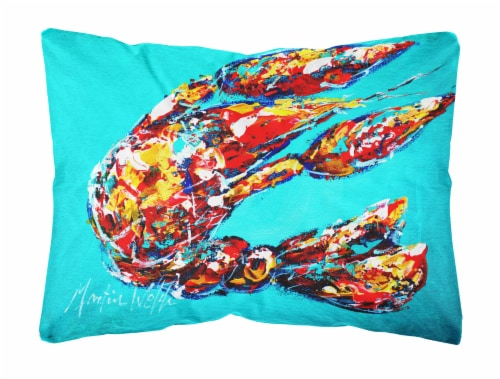 Lucy the Crawfish in blue   Canvas Fabric Decorative Pillow Perspective: front