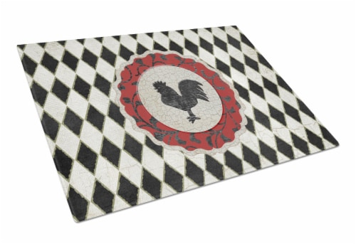 Rooster Harlequin Black and white Glass Cutting Board Large Size Perspective: front