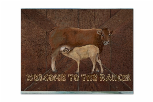 Welcome to the Ranch with the Cow and Baby Fabric Placemat Perspective: front