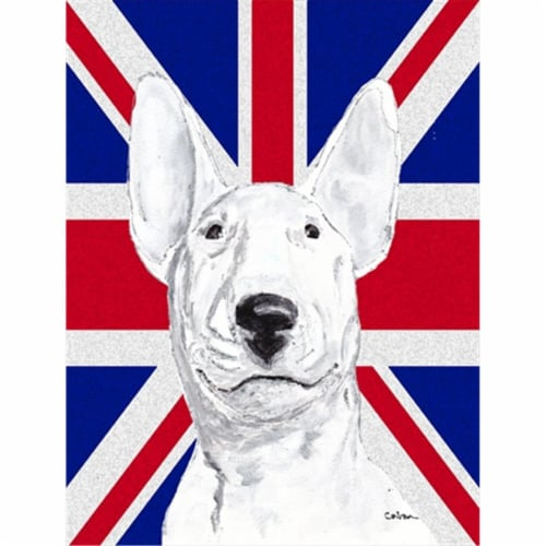 Bull Terrier with English Union Jack British Flag Flag Canvas House Size Perspective: front