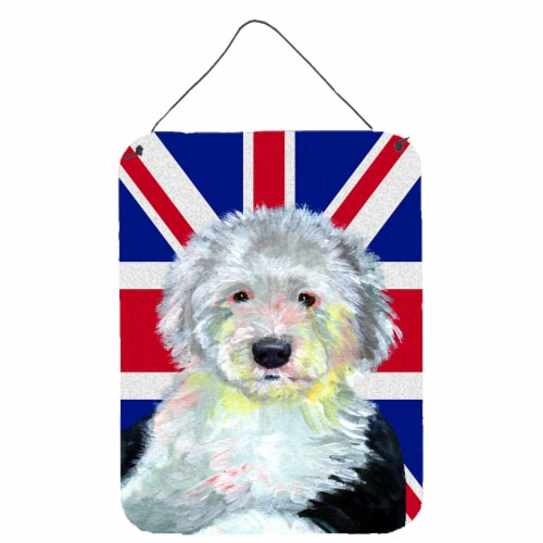 Old English Sheepdog with English Union Jack British Flag Wall or Door Hanging P Perspective: front
