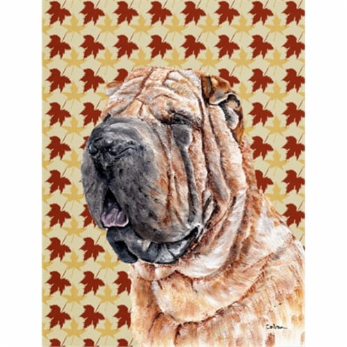 Carolines Treasures  SC9671CHF Shar Pei Fall Leaves Flag Canvas House Size Perspective: front
