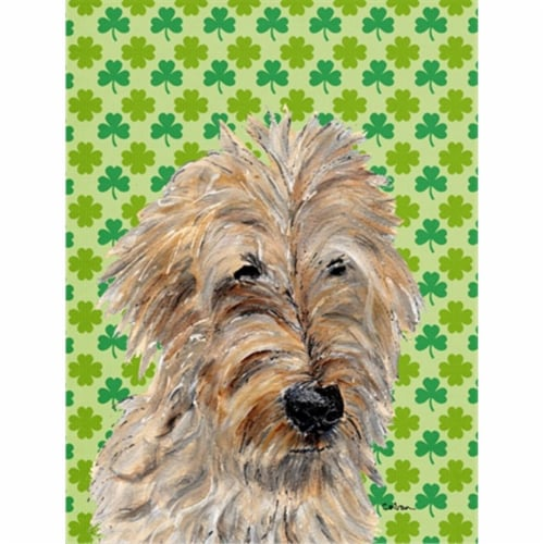Golden Doodle 2 Lucky Shamrock St. Patrick's Day Flag Canvas House Size Perspective: front