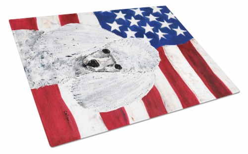 White Toy Poodle with American Flag USA Glass Cutting Board Large Size Perspective: front