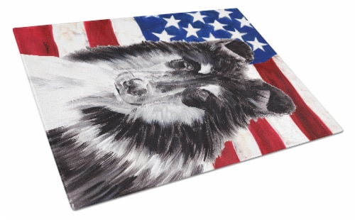 Black and White Collie with American Flag USA Glass Cutting Board Large Size Perspective: front