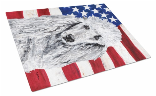 White Standard Poodle with American Flag USA Glass Cutting Board Large Size Perspective: front
