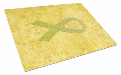 Yellow Ribbon for Sarcoma, Bone or Bladder Cancer Awareness Glass Cutting Board Perspective: front