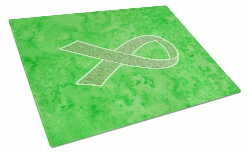 Lime Green Ribbon for Lymphoma Cancer Awareness Glass Cutting Board Large Size Perspective: front