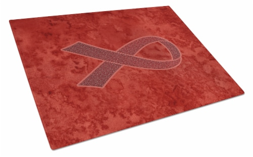 Burgundy Ribbon for Multiple Myeloma Cancer Awareness Glass Cutting Board Large Perspective: front