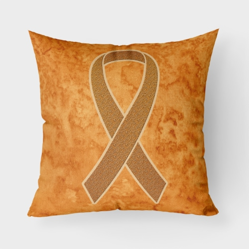 Orange Ribbon for Leukemia Awareness   Canvas Fabric Decorative Pillow Perspective: front