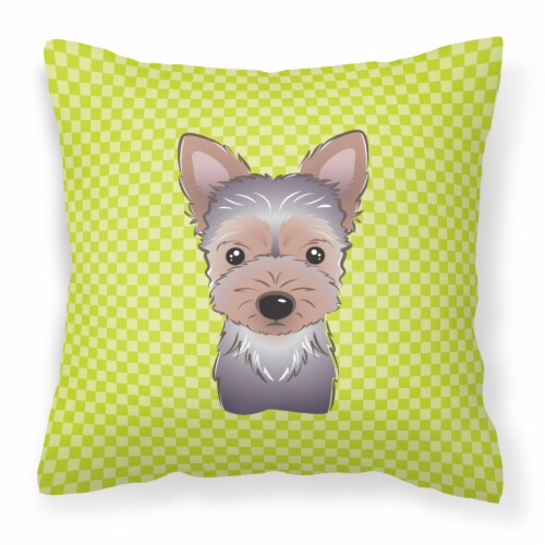 Checkerboard Lime Green Yorkie Puppy Canvas Fabric Decorative Pillow Perspective: front