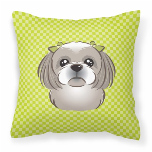 Checkerboard Lime Green Gray Silver Shih Tzu Canvas Fabric Decorative Pillow Perspective: front