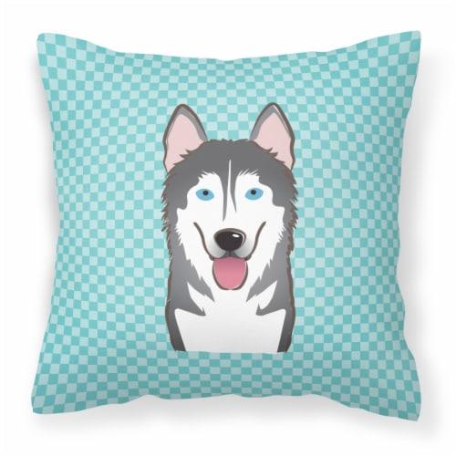 Checkerboard Blue Alaskan Malamute Canvas Fabric Decorative Pillow Perspective: front