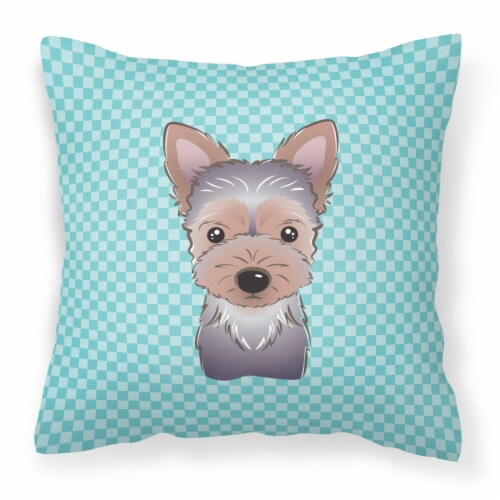 Checkerboard Blue Yorkie Puppy Canvas Fabric Decorative Pillow 18hx18w Dillons Food Stores