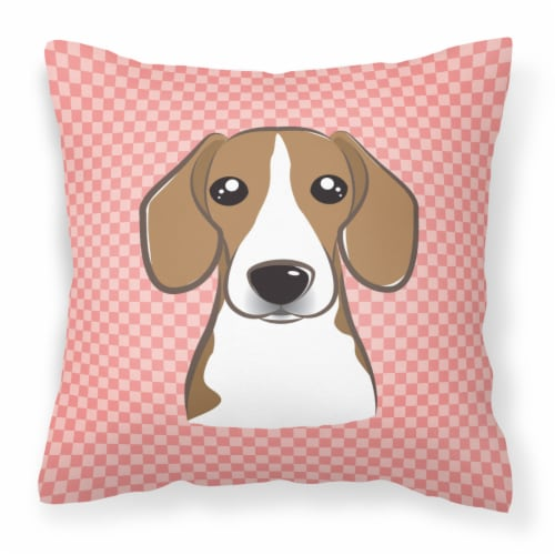 Checkerboard Pink Beagle Canvas Fabric Decorative Pillow Perspective: front