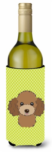 Checkerboard Lime Green Chocolate Brown Poodle Wine Bottle Beverage Insulator Hu Perspective: front