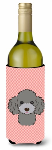 Checkerboard Pink Silver Gray Poodle Wine Bottle Beverage Insulator Hugger Perspective: front