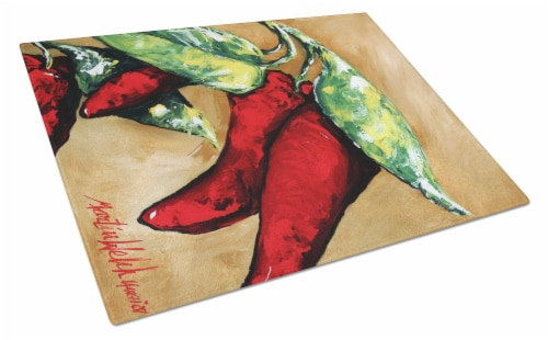 Carolines Treasures  MW1198LCB Hot Peppers Glass Cutting Board Large Perspective: front