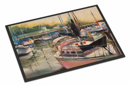 Carolines Treasures  JMK1032MAT Black Sails Sailboat Indoor or Outdoor Mat 18x27 Perspective: front
