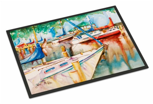 Sailboats at the Gazebo Indoor or Outdoor Mat 18x27 Perspective: front