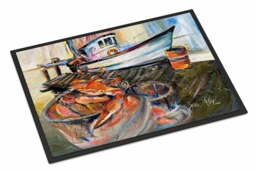 Carolines Treasures  JMK1104MAT Blue Crab Trap Indoor or Outdoor Mat 18x27 Perspective: front