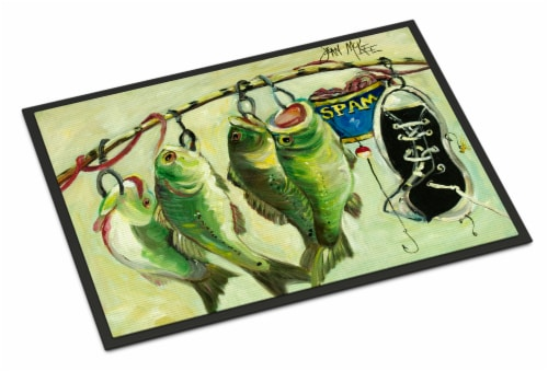 Recession Food Fish caught with Spam Indoor or Outdoor Mat 18x27 Perspective: front