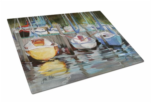 Carolines Treasures  JMK1084LCB Yellow boat Sailboat Glass Cutting Board Large Perspective: front