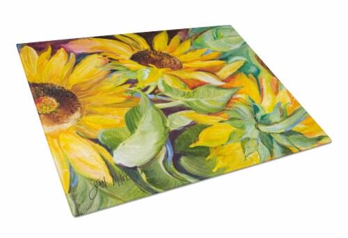 Carolines Treasures  JMK1122LCB Sunflowers Glass Cutting Board Large Perspective: front