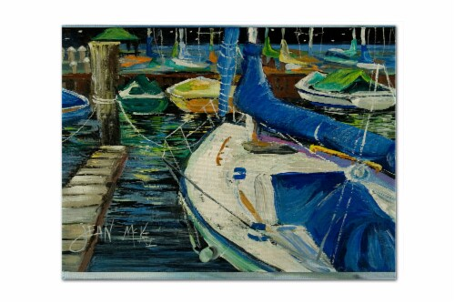 Carolines Treasures  JMK1031PLMT Night on the Docks Sailboat Fabric Placemat Perspective: front