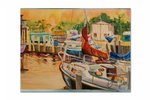 Carolines Treasures  JMK1082PLMT Sunset Bay Sailboat Fabric Placemat Perspective: front