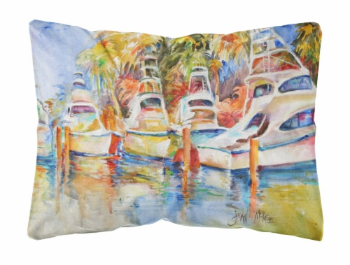 Deep Sea Fishing Boats at the Dock Canvas Fabric Decorative Pillow Perspective: front