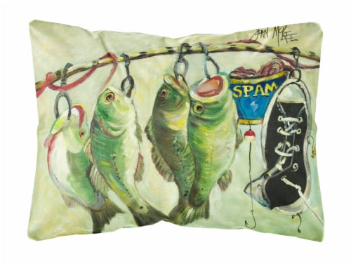 Recession Food Fish caught with Spam Canvas Fabric Decorative Pillow Perspective: front