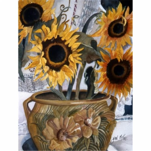 Carolines Treasures  JMK1202CHF Pot of Sunflowers Flag Canvas House Size Perspective: front