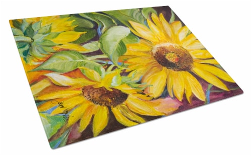 Carolines Treasures  JMK1172LCB Sunflowers Glass Cutting Board Large Perspective: front