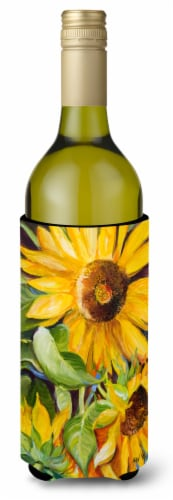 Sunflowers Wine Bottle Beverage Insulator Hugger Perspective: front