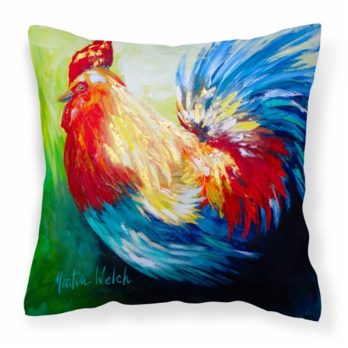 Rooster Chief Big Feathers Canvas Fabric Decorative Pillow Perspective: front