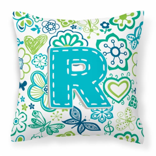 Letter R Flowers and Butterflies Teal Blue Canvas Fabric Decorative Pillow Perspective: front
