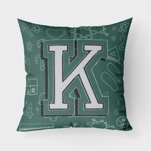 Letter K Back to School Initial Canvas Fabric Decorative Pillow Perspective: front