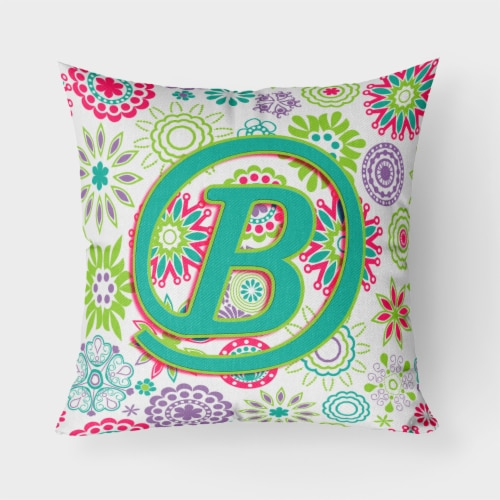 Letter B Flowers Pink Teal Green Initial Canvas Fabric Decorative Pillow Perspective: front