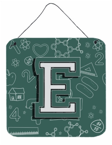 Letter E Back to School Initial Wall or Door Hanging Prints Perspective: front
