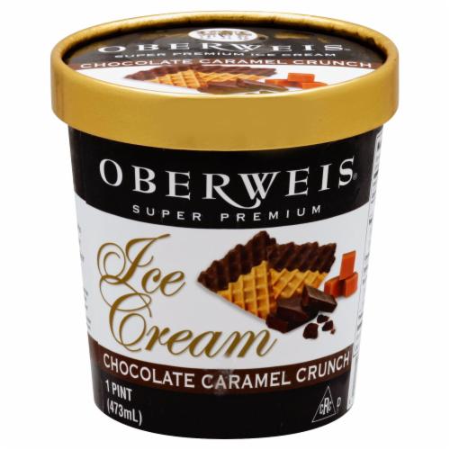Oberweis Super Premium Chocolate Caramel Crunch Ice Cream Perspective: front