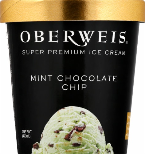 Oberweis Mint Chocolate Chip Ice Cream Perspective: front