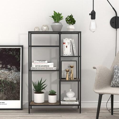 6-Open Bookshelf Bookcase Display Shelf Storage Organizer(Brown) Perspective: front