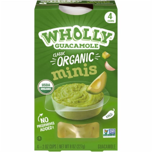 Wholly Guacamole Organic Guacamole Minis 4 Count Perspective: front