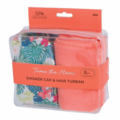 CALA Spa Solutions Tame The Mane Shower Cap & Hair Turban Travel Pouch - Tropical Perspective: front