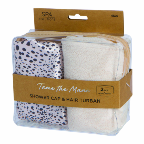 CALA Spa Solutions Tame The Mane Shower Cap & Hair Turban Travel Pouch - White/Black Perspective: front