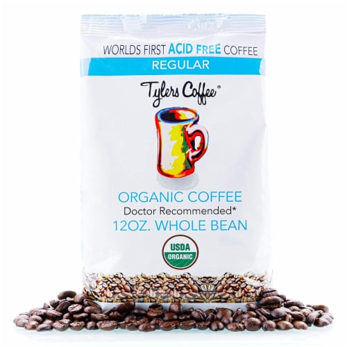 Tyler's No Acid Organic Coffee Beans - 100% Arabica Full Flavor- For No Acid Diets - 12 oz Perspective: front